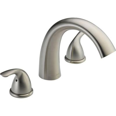 Classic 2-Handle Deck-Mount Roman Tub Faucet Trim Kit Only in Stainless (Valve Not Included)