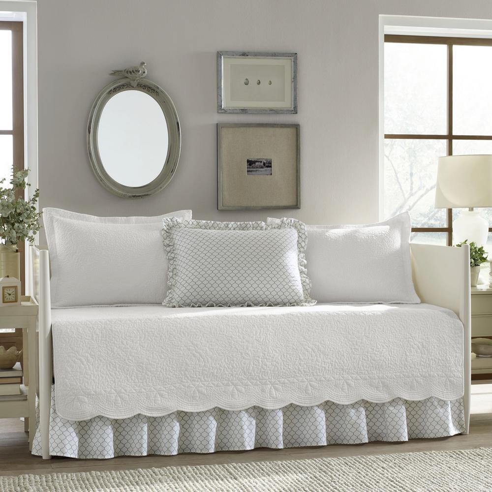 - Stone Cottage Trellis 5-Piece White Solid Cotton Daybed Bedding