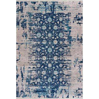 Mirage Navy Blue/Cream 5 ft. 3 in. x 7 ft. 6 in. Persian Distressed Floral Area Rug