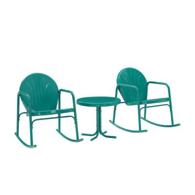 Griffith Turquoise 3-Piece Metal Patio Conversation Rocking Chair Seating Set