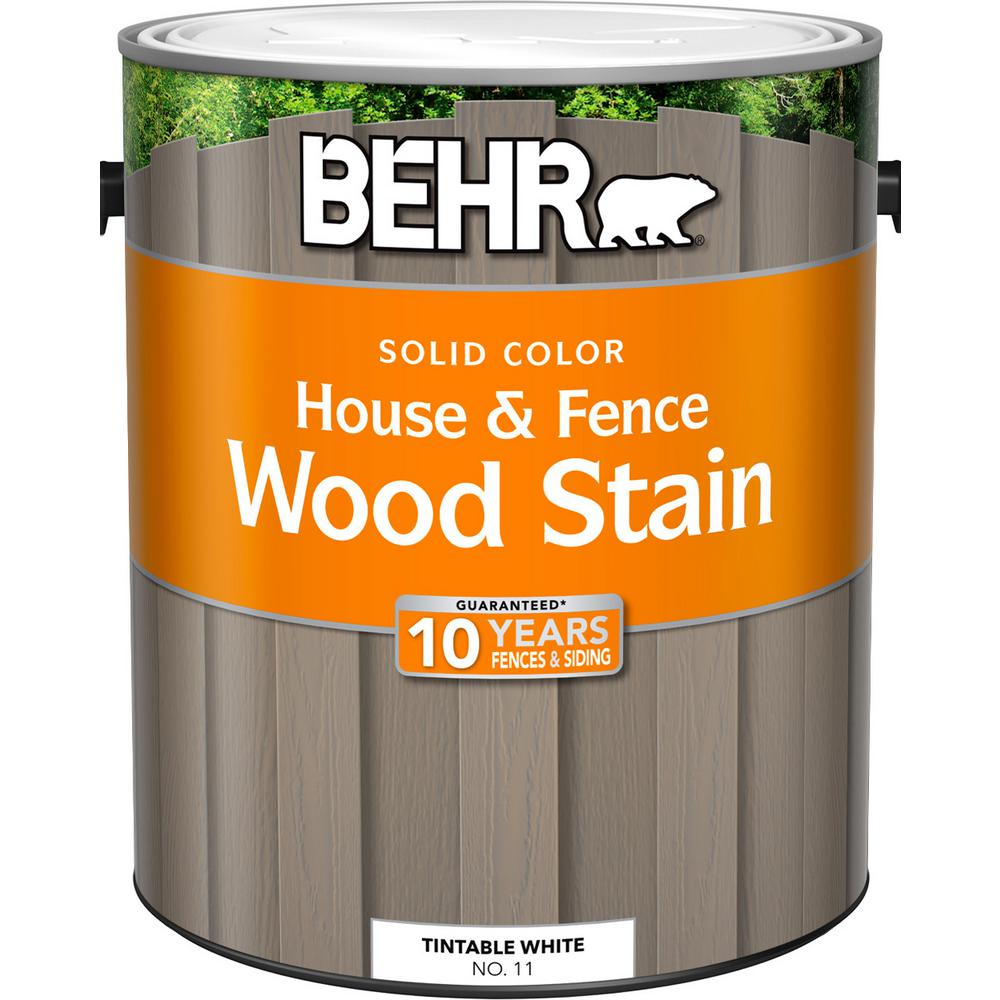 Behr 1 Gal White Base Solid Color House And Fence Exterior Wood Stain 01101 The Home Depot