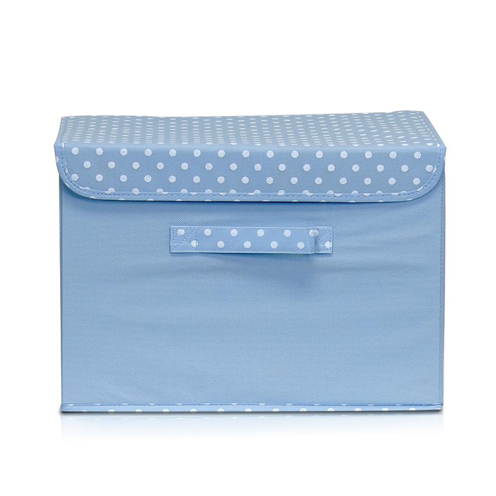 Non-Woven Fabric Blue Storage Bin with Lid
