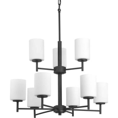 Replay 9-Light Black Chandelier with Etched Fluted Glass Shade