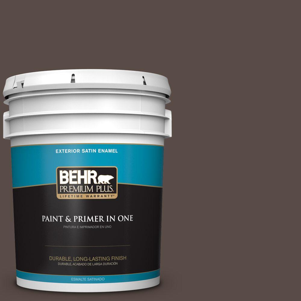 5 gal. #PPU5-19 Dark Truffle Satin Enamel Exterior Paint