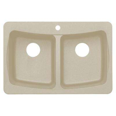 Dual Mount Granite 33 in. 3-Hole Double Bowl Kitchen Sink in Sahara Beige
