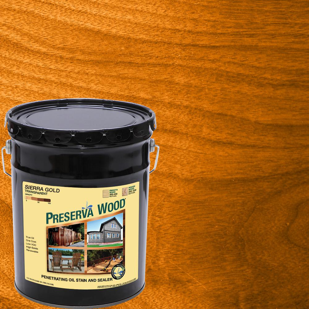 Preserva Wood 5 Gal Oil Based Sierra Gold Penetrating Exterior Stain And Sealer 40506 The