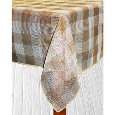 Bistro Check 60 in. x 84 in. Sand Vinyl and Poly Tablecloth