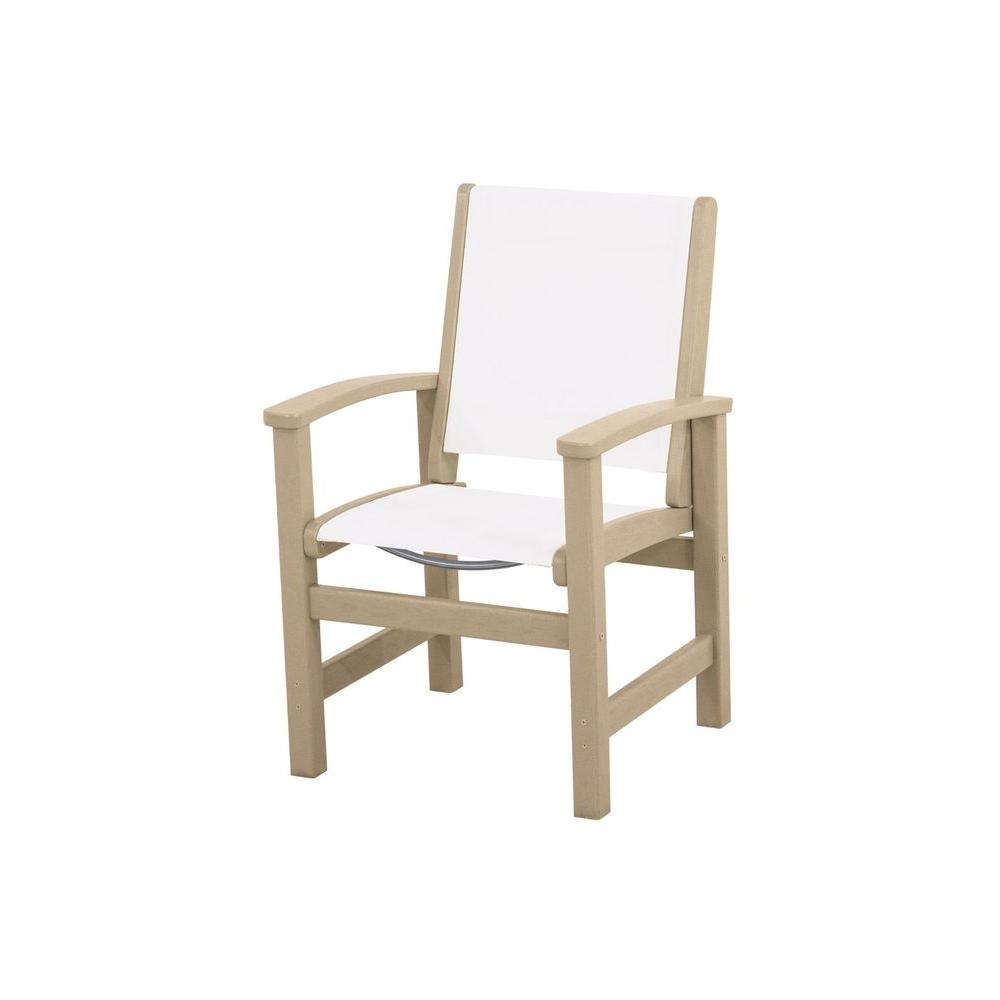 Coastal Sand All-Weather Plastic/Sling Outdoor Dining Chair in White