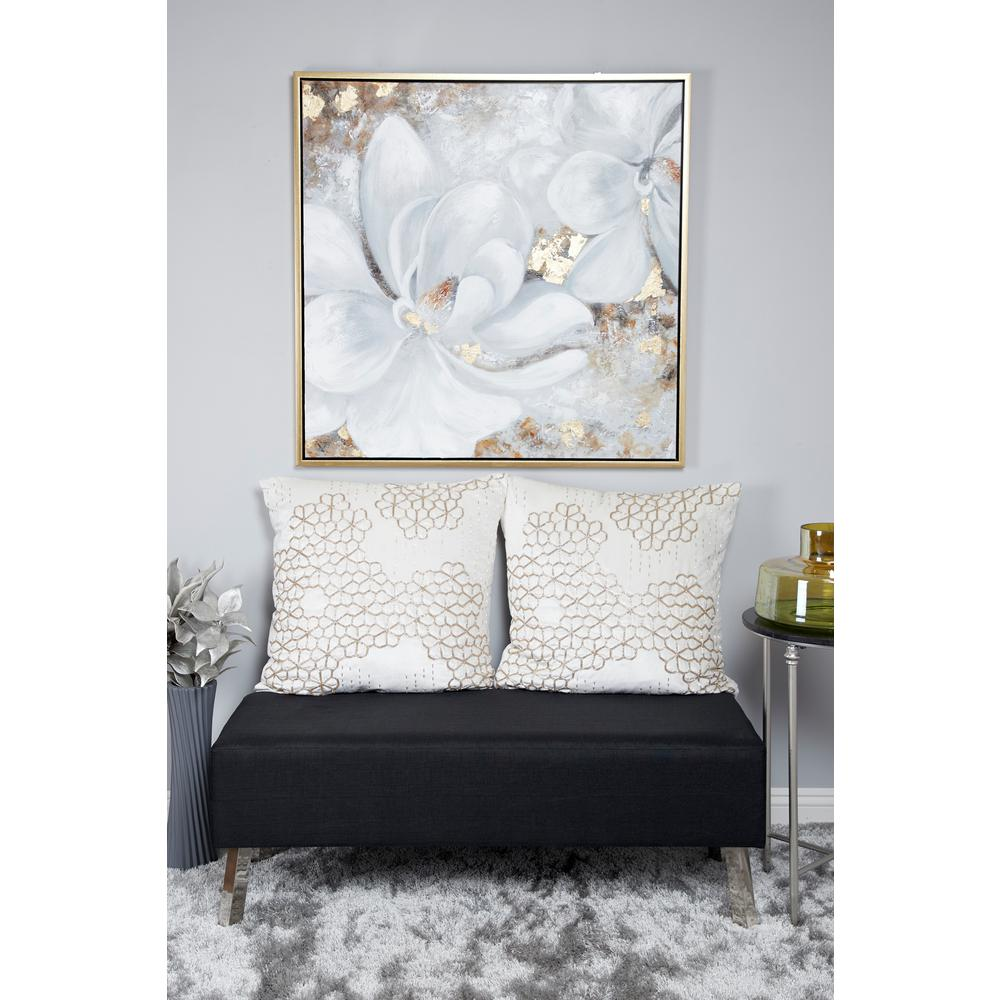 Gardenia Acrylic Painting Framed Canvas Wall Art
