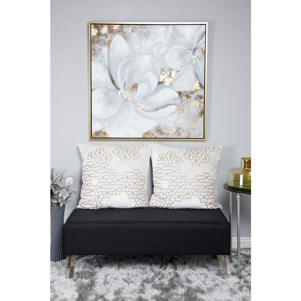 Gardenia Acrylic Painting Framed Canvas Wall Art