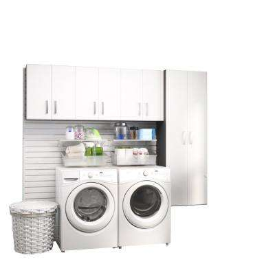 Modular Laundry Room Storage Set With Accessories In White (4 Piece)