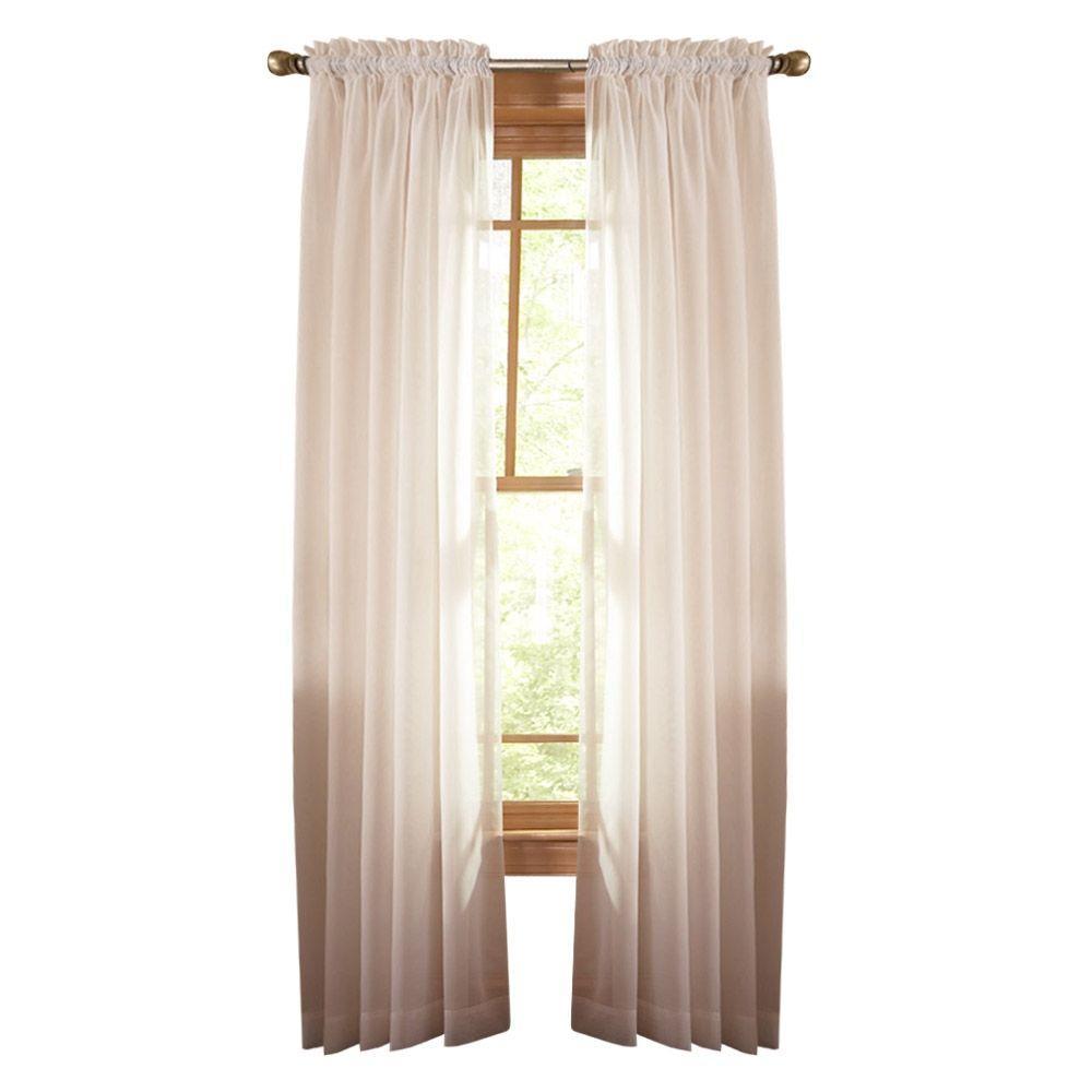 Martha Stewart Living Sheer Heavy Cream Fine Sheer Rod Pocket Curtain