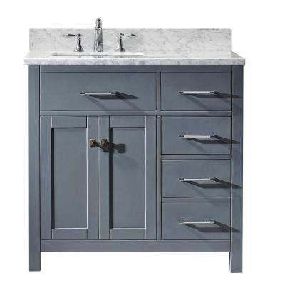 Caroline Parkway 36 in. W Bath Vanity in Gray with Marble Vanity Top in White with Square Basin