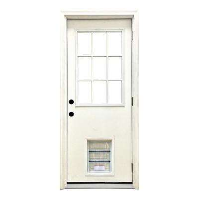 32 in. x 80 in. Classic Clear 9 Lite LHOS White Primed Fiberglass Prehung Front Door with XL Pet Door
