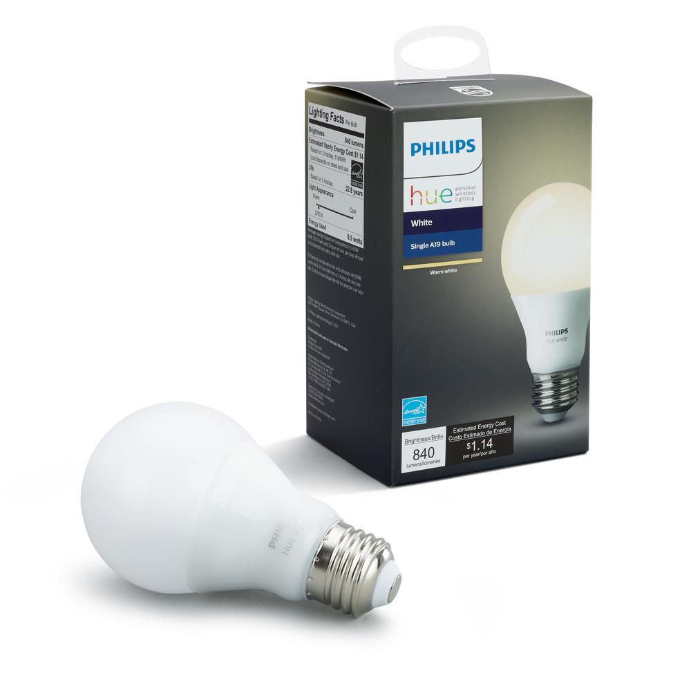 Philips Hue White A19 LED 60W Equivalent Dimmable Smart Wireless Bulb