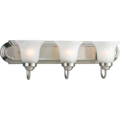 3-Light Brushed Nickel Fluorescent Bathroom Vanity Light with Glass Shades