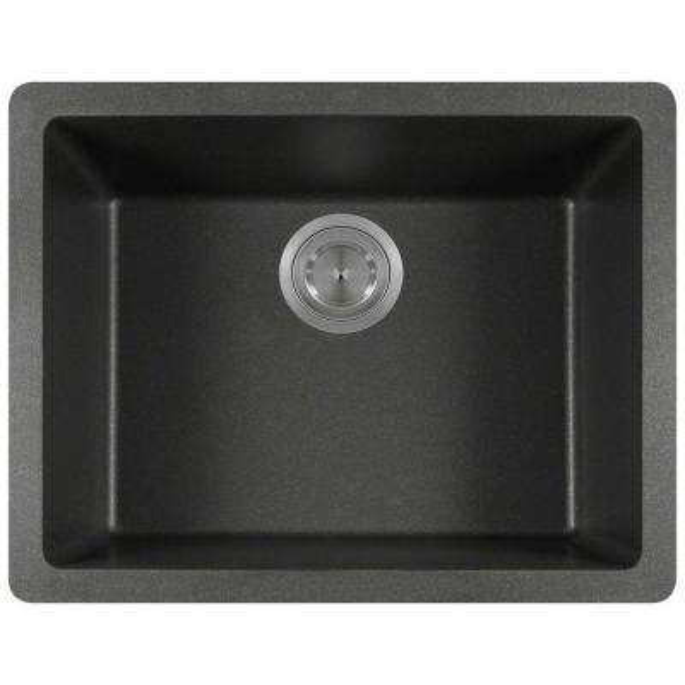 Undermount Granite 22 in. Single Bowl Kitchen Sink in Black