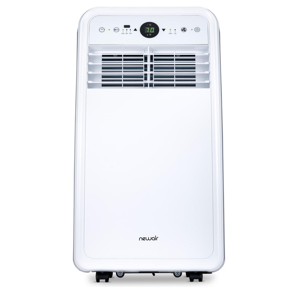 Newair 8 000 Btu 4 500 Btu Doe Portable Air Conditioner For 200 Sq Ft With Easy Setup Window Venting Kit Remote White Nac08kwh00 The Home Depot