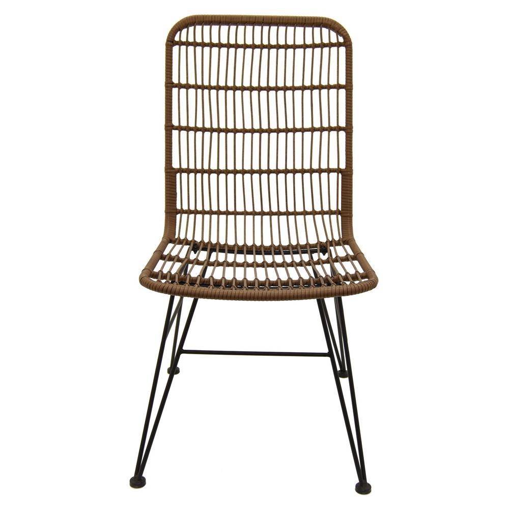 18 in. x 21.5 in. Brown Metal/Plastic Chair