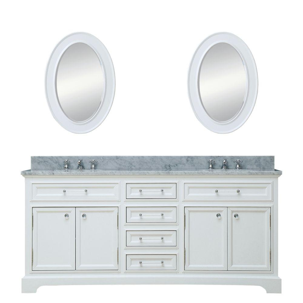 Water Creation 72 in. W x 22 in. D Vanity in White with Marble Vanity Top in Carrara White, Mirror and Chrome Faucet