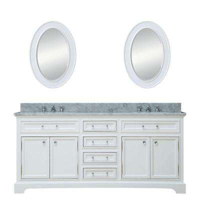 72 in. W x 22 in. D Vanity in White with Marble Vanity Top in Carrara White, Mirror and Chrome Faucet