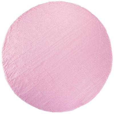 Faux Sheepskin Pink 8 ft. Round Area Rug