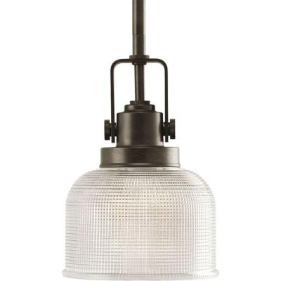 Archie Collection 1-Light Venetian Bronze Mini Pendant with Clear Prismatic Glass