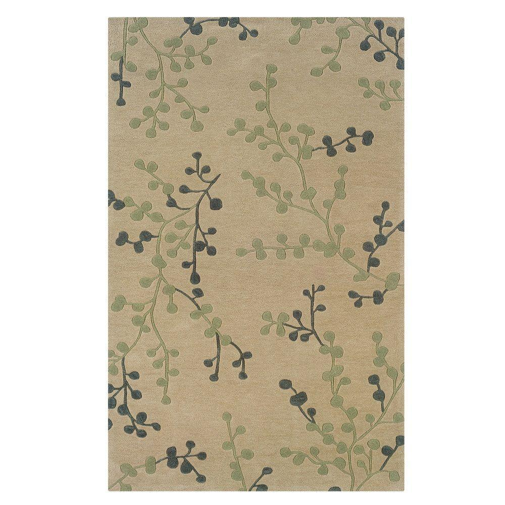 Trio Collection Beige and Pale Blue 5 ft. x 7 ft.