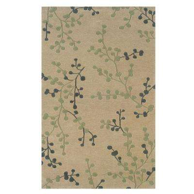 Trio Collection Beige and Pale Blue 5 ft. x 7 ft. Indoor Area Rug