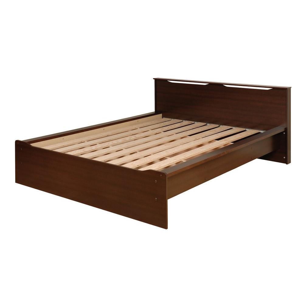Prepac Coal Harbor Espresso Queen Platform Bed with Headboard-DISCONTINUED
