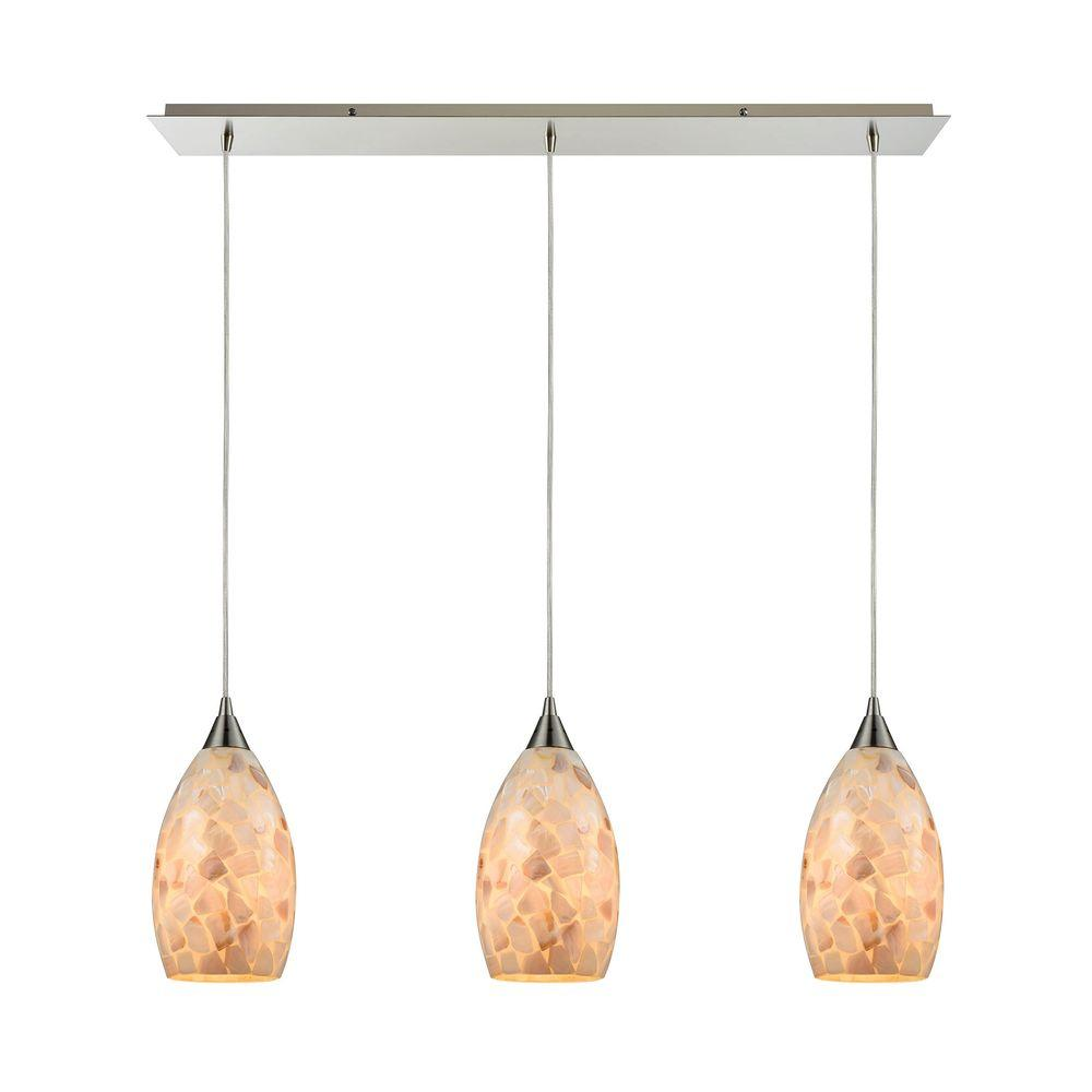 titan lighting capri 3 light satin nickel and capiz shell pendant tn