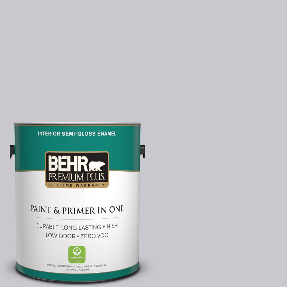 1-gal. #ECC-62-1 Urban Gray Zero VOC Semi-Gloss Enamel Interior Paint