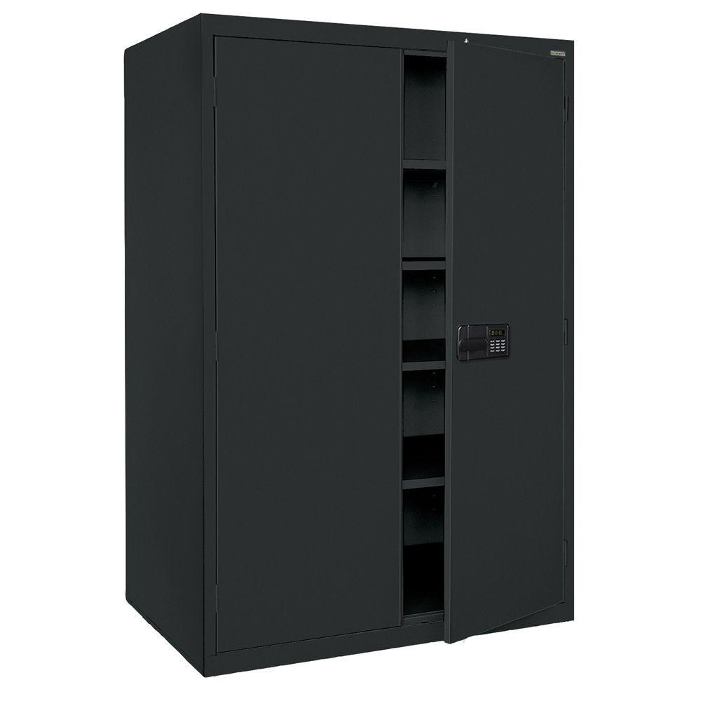 Sandusky Elite Series 78 in. H x 46 in. W x 24 in. D 5-Shelf Steel Keyless Electronic Handle Storage Cabinet in Black