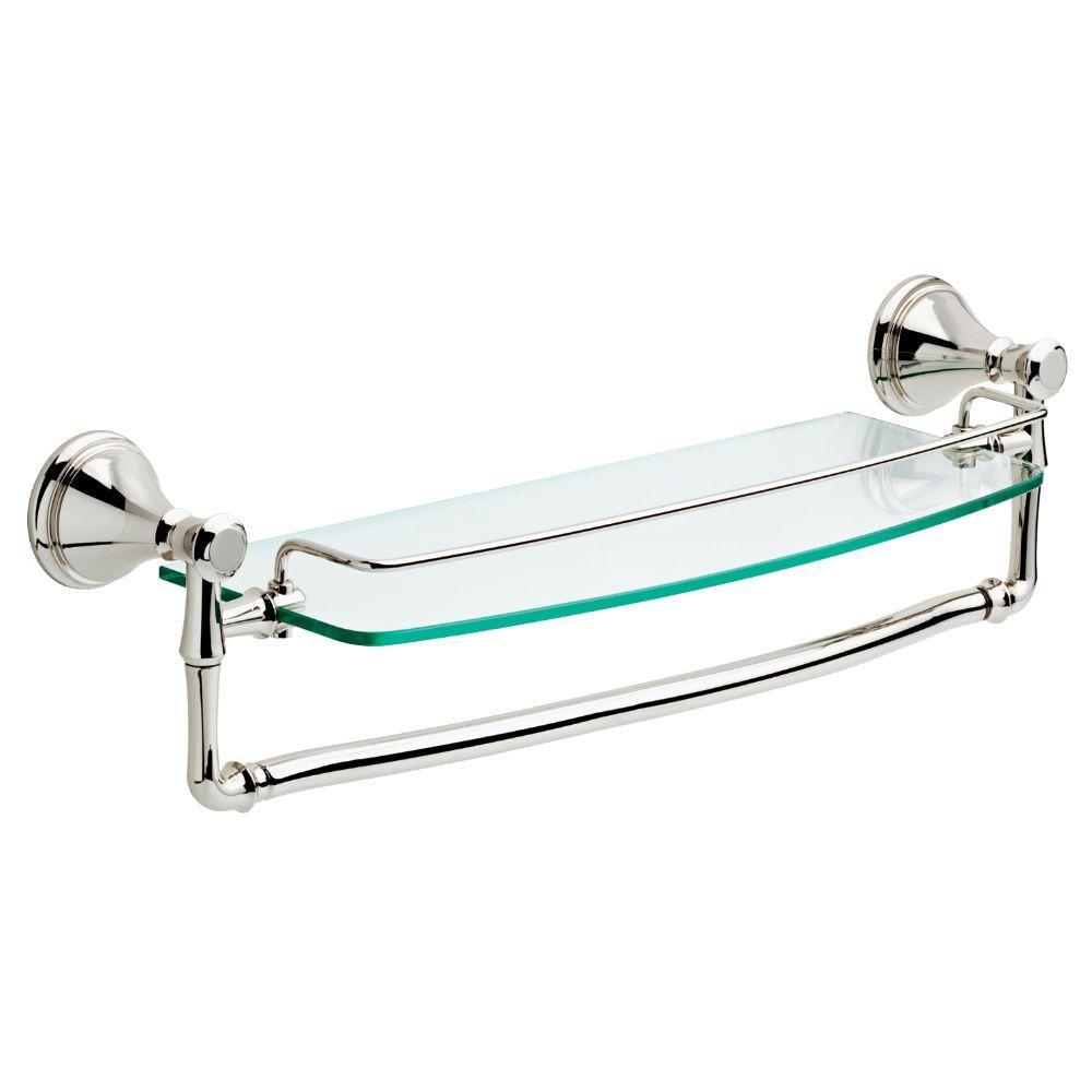 Cassidy 18 in. Glass Bathroom Shelf with Towel Bar in Polished Nickel