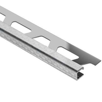 Quadec Square Check Stainless Steel 3/8 in. x 8 ft. 2-1/2 in. Metal Square Edge Tile Edging Trim