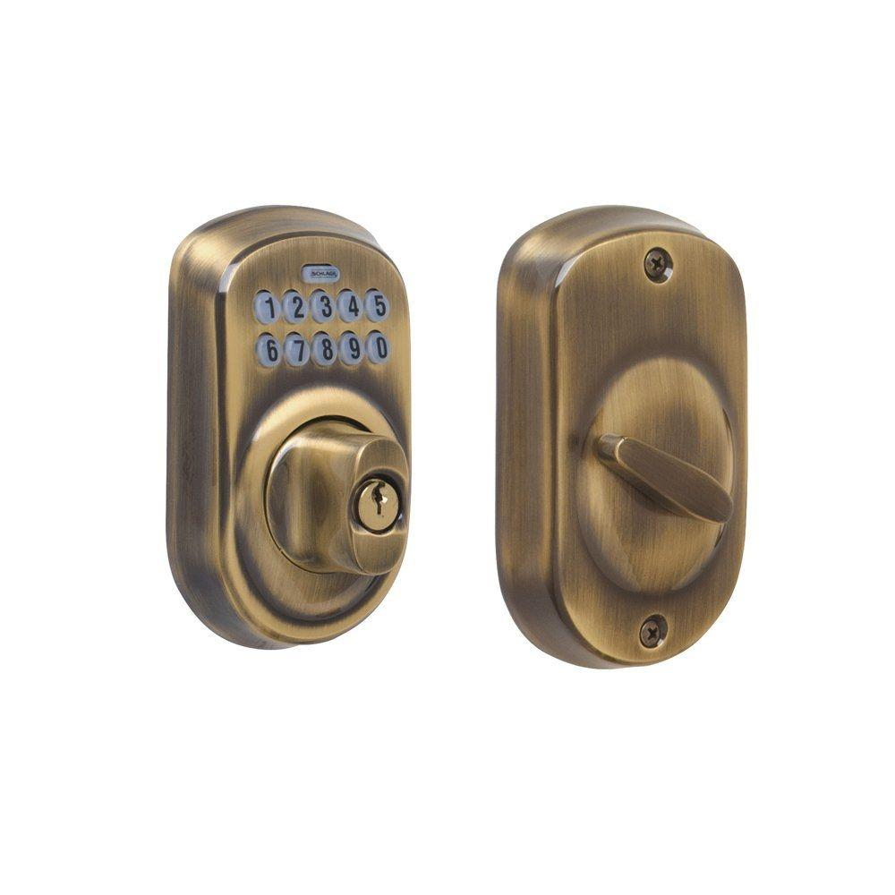 Schlage Plymouth Antique Brass Keypad Deadbolt Be365 Ply
