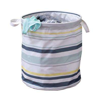 Multi Stripped Collapsible Laundry Hamper with Handles