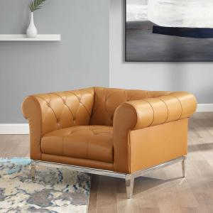 Fine Modway Idyll Tufted Button Upholstered Leather Chesterfield Creativecarmelina Interior Chair Design Creativecarmelinacom