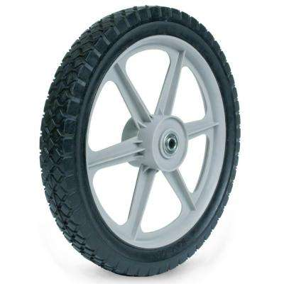14X1.75 Plastic Spoke Semi-Pneumatic Wheel 1/2 in. Ball Bearing 2-3/8 in. Centered Hub Diamond Tread