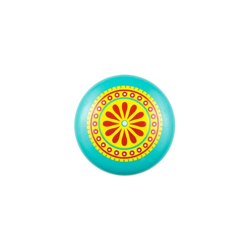 Sumner Street Home Hardware 1.5 in. Turquoise Paisley Painted Wood Knob