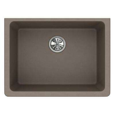 Quartz Classic Undermount Composite 25 in. Single Bowl Kitchen Sink in Greige