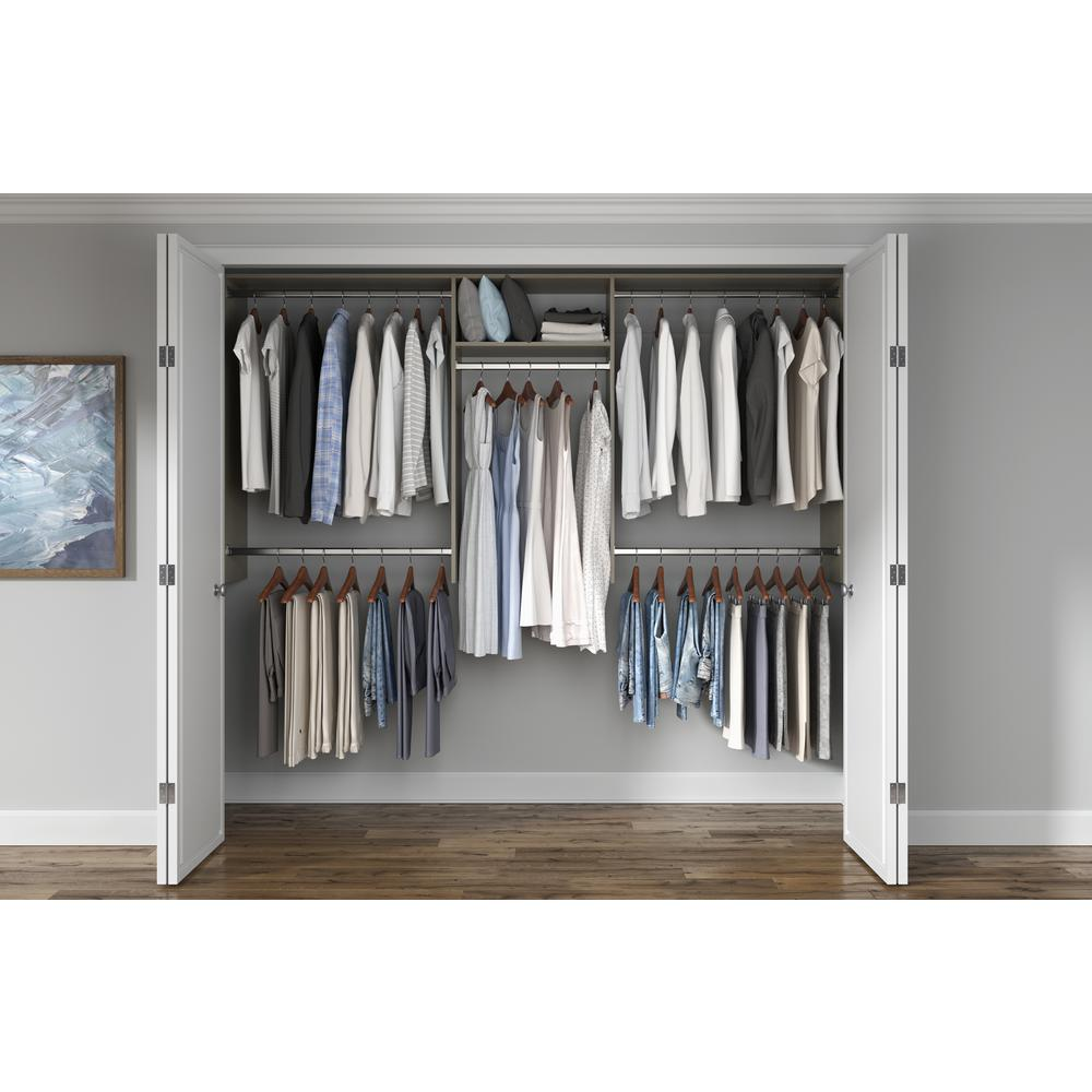 Closet Evolution 14 in. D x 96 in. W x 48 in. H Rustic Grey Hanging Wood Closet Kit
