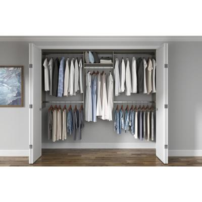 Basic Hanging 60 in. W - 96 in. W Rustic Grey Wood Closet System