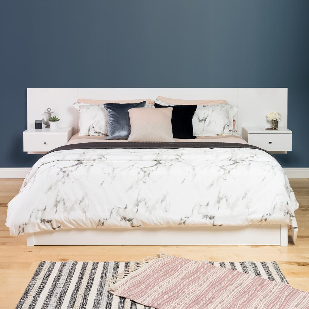 by floating headboard with nightstands shelf diy