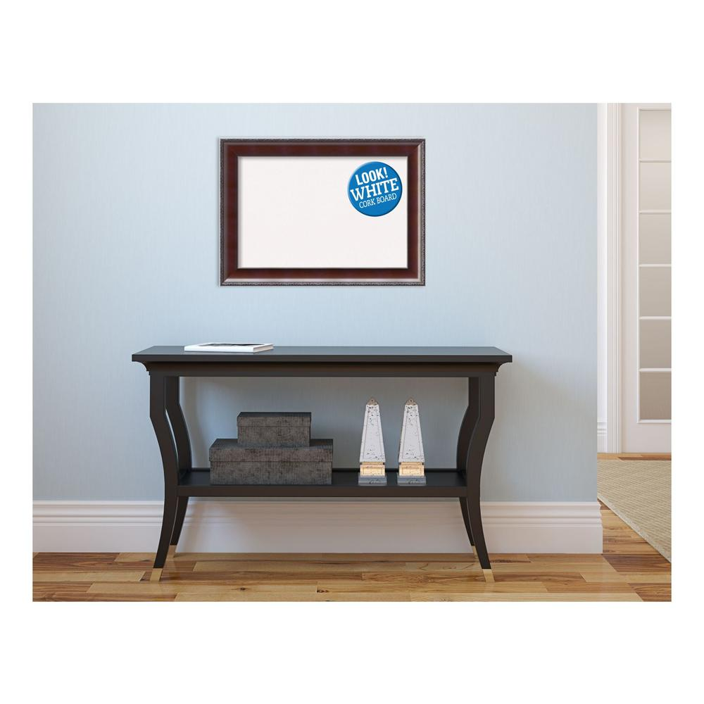Country Walnut Wood 21 in. x 15 in. Framed White Cork