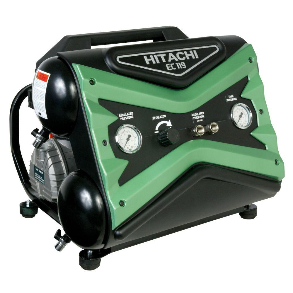 Hitachi 4 gal. 1.6 HP Side Stack Air Compressor with 8 oz. Synthetic Oil and Dipstick