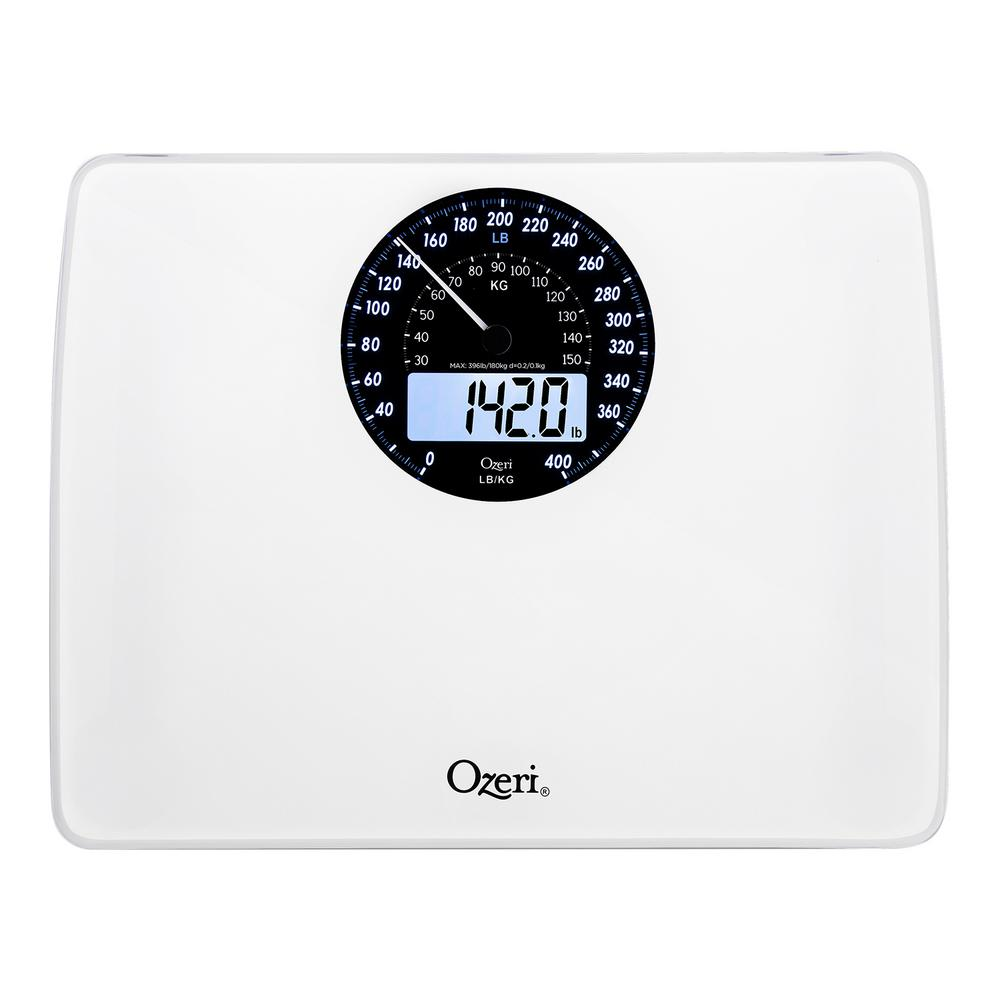 ozeri rev digital bathroom scale with electro mechanical weight dial zb23 w the home depot. Black Bedroom Furniture Sets. Home Design Ideas