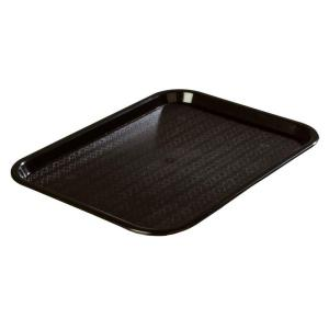 Carlisle 12.06 inch x 16.31 inch Polypropylene Cafeteria/Food Court Serving Tray in Black (Case of 24) by Carlisle