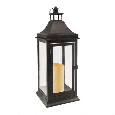 7.125 in. x 19.5 in. Matte Black Tall Classic Lantern with LED Candle