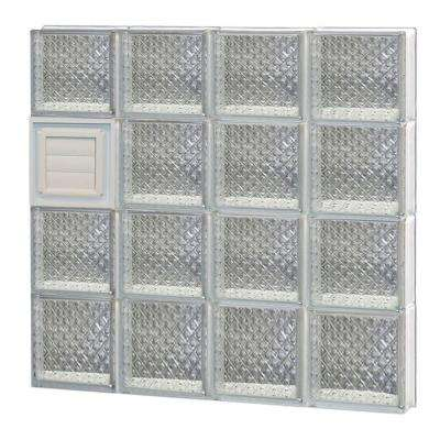 31 in. x 31 in. x 3.125 in. Diamond Pattern Glass Block Window with Dryer Vent